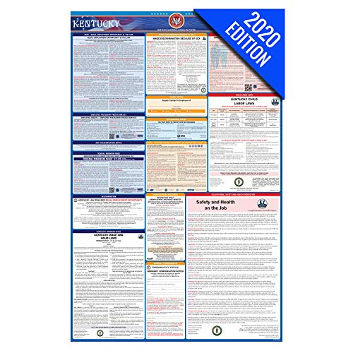 KY Labor Law Poster, 2020 Edition - State, Federal and OSHA Compliant Laminated Poster (Kentucky, English)