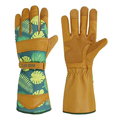 OLSON DEEPAK Womens Gardening Gloves with Grain Leather for Yard Work, Rose Pruning and Daily Work perfect fitting for women, Long Cuff Rose Garden Gloves with Fashion palm leaf pattern (Long-cuffs-XL)