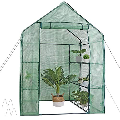 Mini Walk-in Greenhouse 3 Tier 6 Shelves with PE Cover and Roll-Up Zipper Door, Waterproof Cloche Portable Greenhouse Tent-55.9L x 28.3W x 75.59H Inches, Grow Seeds & Seedlings, Tend Potted Plants