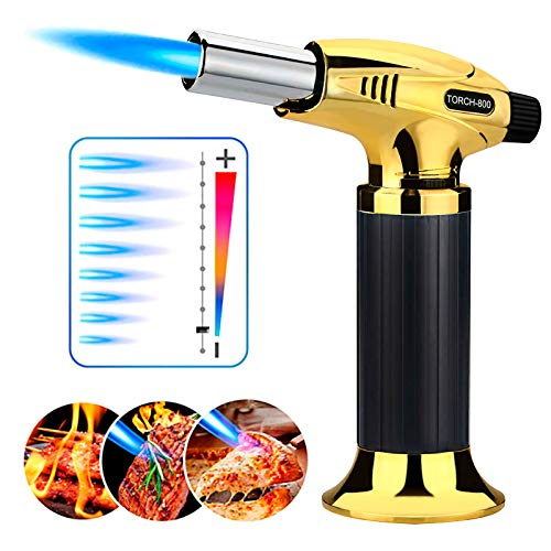 Dewliop Culinary Butane Torch, Kitchen Torch Lighter with Adjustable Flame, Cooking Blow Torch with Refillable Butane for Camping, Barbecue, Dessert and Heat Shrink Tube (Butane Gas Not Include)