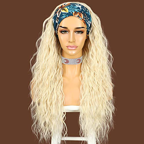 #613 Bleached Blonde Curly Synthetic Headband Wigs for Women 26 Inches Glueless None Lace Front Synthetic Wigs Long Wavy Loose Curly Half Wig Easy to Ware with Headband Magic Tape 130% Density