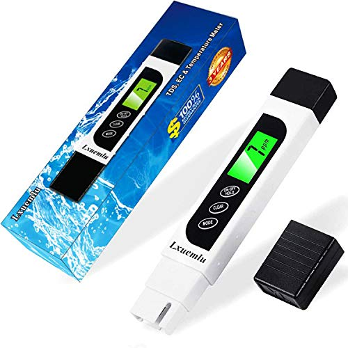 TDS Meter Digital Water Tester, Lxuemlu Professional 3-in-1 TDS, Temperature and EC Meter with Carrying Case, 0-9999ppm, Ideal ppm Meter for Drinking Water, Aquariums and More (LX-TDS1)