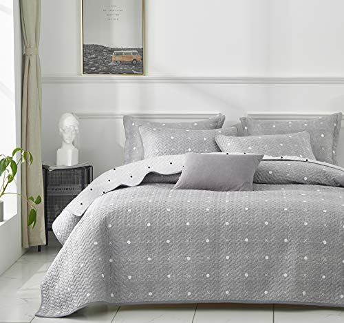 Uozzi Bedding 3 Piece Reversible Gray Dots & Cross Quilt Set Queen Size 92x90 Soft Microfiber Lightweight Coverlet Bedspread Summer Comforter Set Bed Cover Blanket for All Season