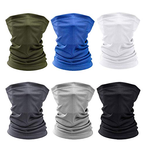 6 Pieces Face Cover Sun UV Protection Face Mask Neck Gaiter Scarf Sunscreen Breathable Bandana for Hot Summer Cycling Hiking Fishing
