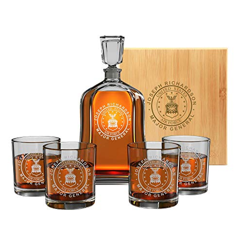 Premium Custom Whiskey Decanter Gifts For Military Men In Army, Navy, Air Force, Coast Guard, Marine - Active Or Retired - Perfect For Husband, Dad, Son - Customized By Name & Rank - By Froolu