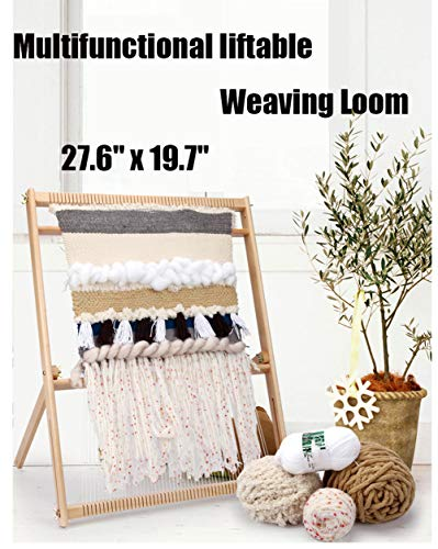 27.6'H x 19.7'W Weaving Loom with Stand Wooden Multi-Craft Weaving Loom Arts & Crafts, Extra-Large Frame, Develops Creativity Weaving Frame Loom with Stand for Beginner