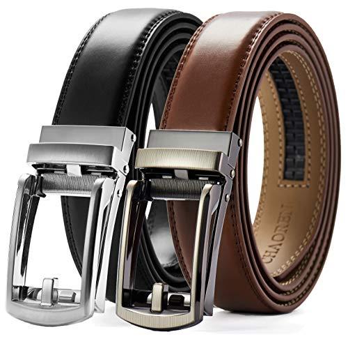 Ratchet Click Belt 2 Packs 1 1/8', Comfort Dress with Adjustable Slide Buckle, Trim to Fit Gift Set