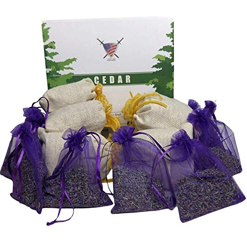 Lavender Sachet and Cedar Bags - Moth Repellent Sachets (20 Pack) Home Fragrance for Drawers and Closets. Natural Clothes Moths Repellant Dried Lavendar Flowers and Cedar Chips with Long-Lasting Aroma