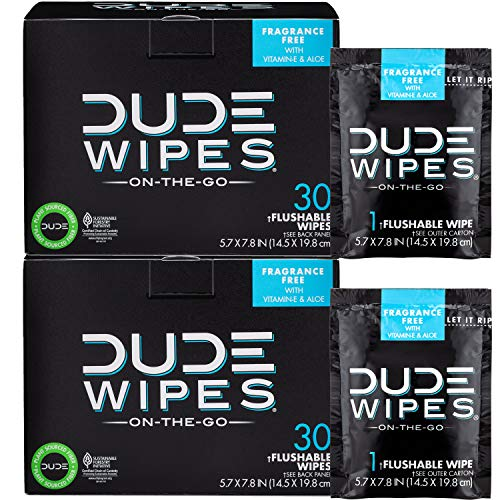 DUDE Wipes Flushable Wipes, Individually Wrapped for Travel, Unscented Wet Wipes with Vitamin-E & Aloe, Septic and Sewer Safe, 30 Count (Pack of 2)