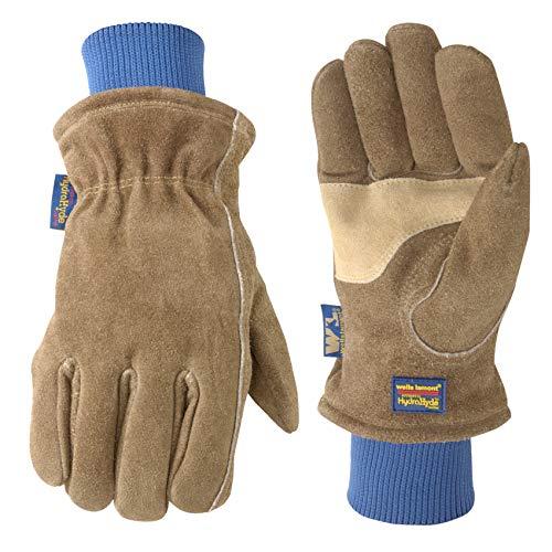 Men's HydraHyde Insulated Split Leather Winter Work Gloves, Medium (Wells Lamont 1196M), Saddle tan