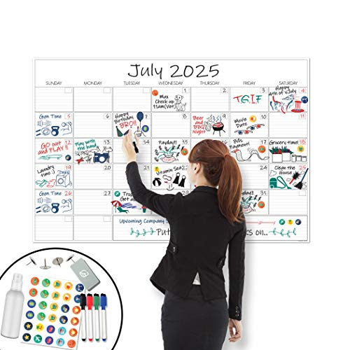 X Large Dry Erase Wall Calendar - 24'x 36' Premium Giant Oversized Undated Erasable Deadline Task Calendar for 2020 - Jumbo Monthly Task Organizer Planner for Home, Business & Dorm Room