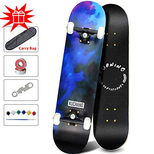 PHOEROS Skateboards -Standard Skateboards for Kids Boys Girls Youths Beginners Starter-Complete Skate Boards 31''x 8''Canadian Maple Pro Cruiser (Blue Light)