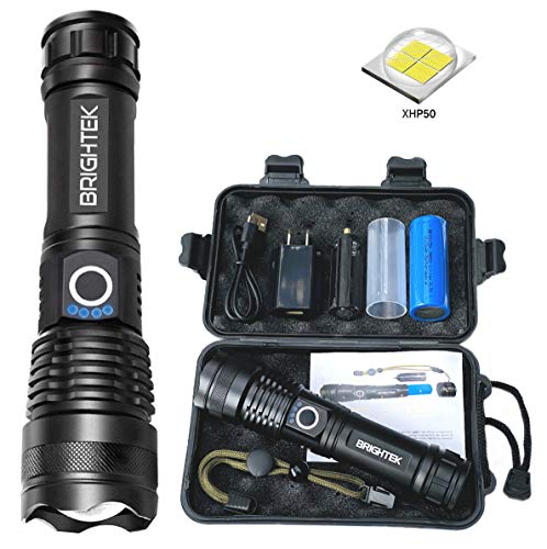 BRIGHTEK Most Powerful XHP50 High Lumens Tactical Flashlight, Rechargeable, Super Bright Flash Light, Waterproof, Zoomable, Best Camping, Emergency & Outdoor with USB Charger & 26650 Battery Included