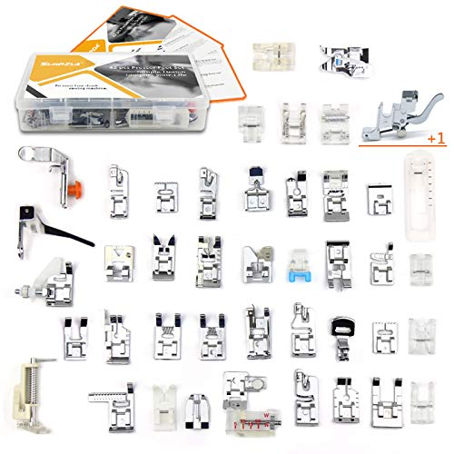 43 pcs Presser Feet Set with Manual & Adapter SIMPZIA Sewing Machine Foot Kit Compatible with Brother, Babylock, Janome, Singer, Elna, Toyota, New Home, Simplicity, Necchi, Kenmore, White (Low Shank)