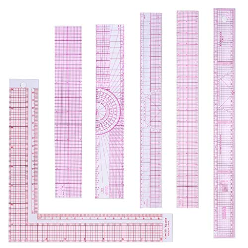 Wusteg 6 Pieces Beveled Transparent Ruler Sewing Rulers Professional Tailor Craft Tool Ruler Set Includes Plastic L-Square Shape Ruler for Clothes Design