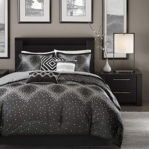 Madison Park Quinn Queen Size Bag-Black, Jacquard – 7 Pieces Bedding Sets – Ultra Soft Microfiber Bedroom Comforters