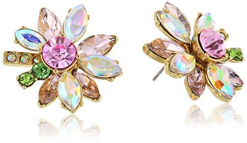 Betsey Johnson Mixed Stone Flower Stud Earrings