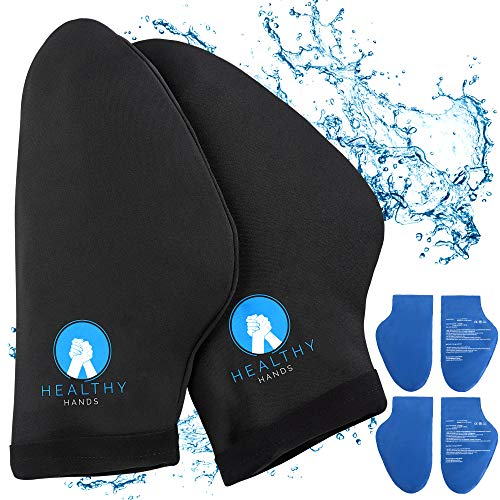 Healthy Hands Hand Ice Pack Wrap – Cold Therapy for Hands - Ice Gloves for Chemo, Neuropathy, Arthritis, Injuries and Working Hands – Includes 2 Mittens and 4 Reusable and Flexible Gel Ice Packs (L)