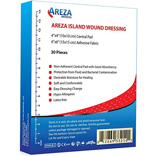 Bordered Gauze Island Dressing 6' x 6' Sterile Latex Free 30 Per Box; Wound Dressing by Areza Medical