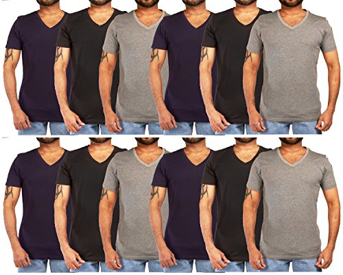 JOTW 12 Pack of Men's Cotton Colored V-Neck T-Shirts - Available in Small to XXLarge (Colored V-Neck) (XL, Dark Pack A)