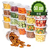 Safeware 16oz [50 Sets] Deli Plastic Food Storage Containers with Airtight Lids - Great for Slime, Soup, Portion Control and Meal Prep   Microwave   Dishwasher   Freezer Safe   Leakproof   Stackable