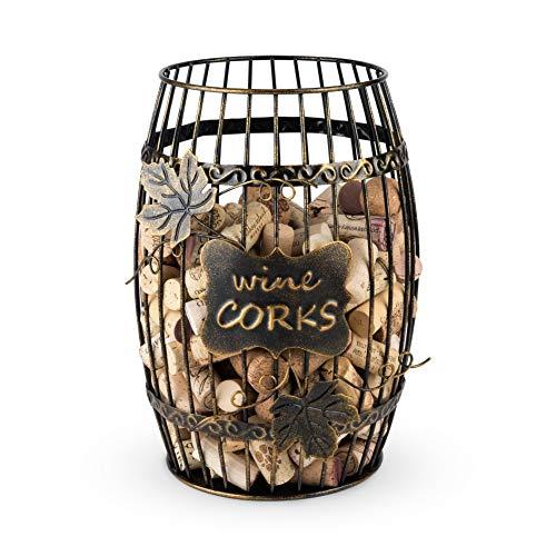 True Display, Wine Kitchen, Barrel Cage Holder Collector Decorative Vino Cork Storage Box Container Gift, Set of 1, Brown