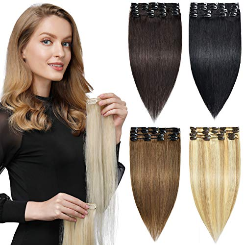 HAIRREAL Clip in Hair Extensions REMY Human Hair for Women 8pcs Set Full Head Natural Straight Real Hairpiece 14-22 Inch