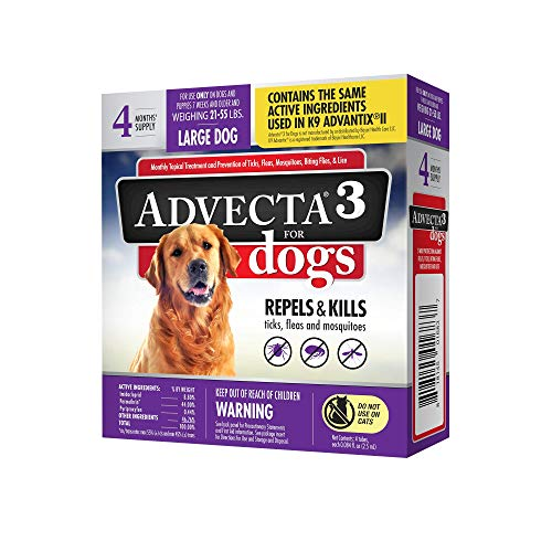 Advecta 3 Flea & Tick Topical Treatment, Flea & Tick Control for Dogs, Large, 4 Month Supply
