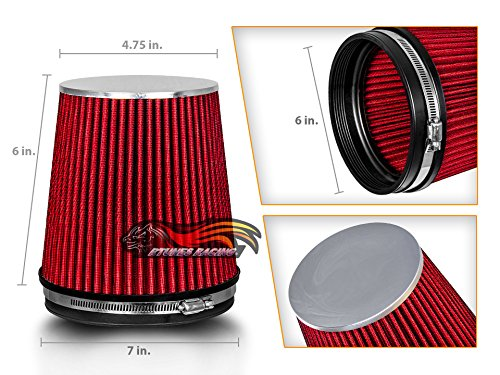 RED 6' 152 mm Inlet Short Truck Cold Air Intake Cone Replacement Performance Washable Clamp-On Dry Air Filter (6' Tall)