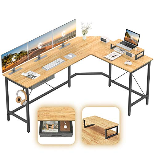 CubiCubi L-Shaped Desk Computer Corner Desk, Home Office Gaming Table, Sturdy Writing Workstation with Samll Table, Space-Saving, Easy to Assemble, Natural