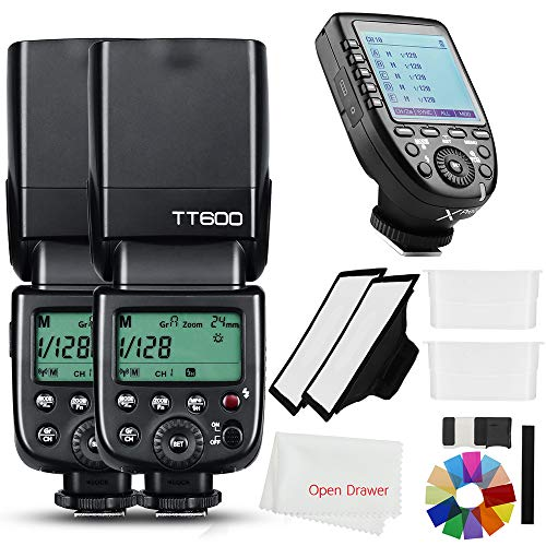 Godox 2X TT600 2.4G HSS Wireless GN60 Master/Slave Camera Thinklite Camer Flash Speedlite Built in Godox X System Receiver with Xpro-C Trigger Transmitter Compatible for Canon Camera