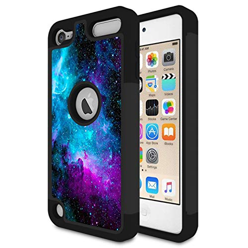 iPod Touch 6 Case,iPod Touch 5 Case,Rossy Nebula Galaxy Space Universe Design Shock-Absorption Hybrid Dual Layer Armor Defender Protective Case Cove for Apple iPod Touch 5 6th Generation