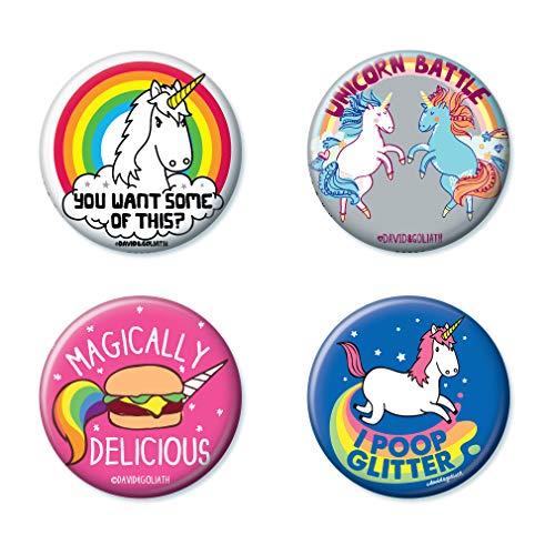Ata-Boy David and Goliath Unicorns Assortment #1 Set of 4 1.25' Collectible Buttons