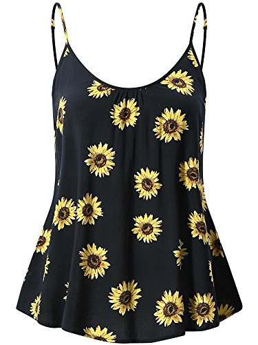 FENSACE Women's Loose Swing Adjustable Spaghetti Strap Cami Tank Tops(Sunflower,L)