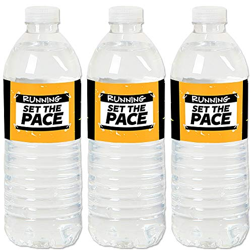 Big Dot of Happiness Set the Pace - Running - Track, Cross Country or Marathon Party Water Bottle Sticker Labels - Set of 20