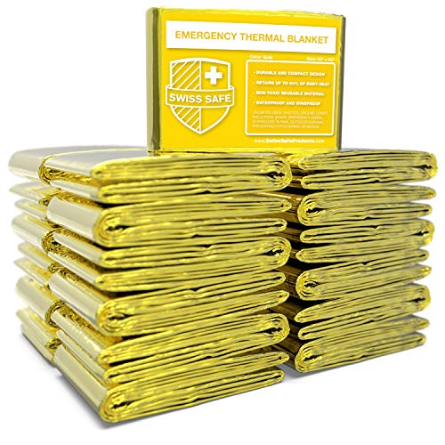 Swiss Safe Emergency Mylar Thermal Blankets (Bulk 25pk) - Designed for NASA, Outdoors, Hiking, Survival, Marathons or First Aid (Gold Color)