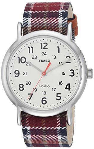 Timex Women's TW2R42200 Weekender 38 Red/Black Plaid Fabric Slip-Thru Strap Watch