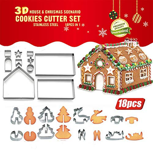 18pcs3D Christmas House Cookie Cutter Set, Gingerbread House Cutters Kit, Festive Xmas Stainless Steel Biscuit Cutter Set, Including Christmas Tree, Snowman, Reindeer, Sled Shapes, Gift Box Package
