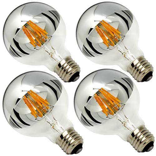 Half Chrome Light Bulb Dimmable 6W (Equivalent 60 Watt) G80/ G25 Globe Shape 2700K Warm White Decorative LED Edison Bulb Sliver Tipped Mirror Larger Light Bulb E26 Base Pack of 4