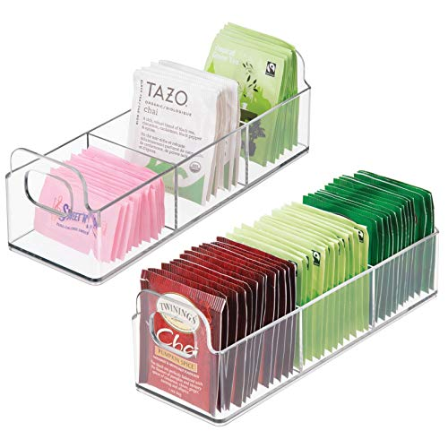 mDesign Plastic Kitchen Pantry, Medicine Cabinet, Countertop Organizer Storage Station Tea Caddy Holder - Holds Beverage and Tea Bags, Sweetener, Individual Packet Condiments - 9' Long, 2 Pack - Clear