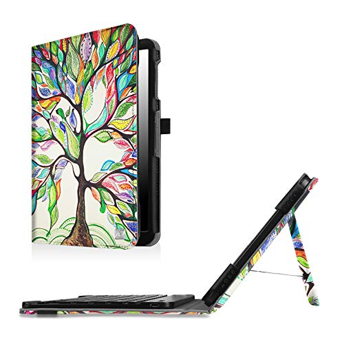 Fintie Keyboard Case for Samsung Galaxy Tab A 10.1 (2016 No S Pen Version), Slim Fit Folio PU Leather Case with Detachable Magnetical Bluetooth Keyboard for Tab A 10.1 (T580/T585/T587), Love Tree