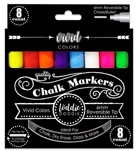Loddie Doddie 8ct Chalk Markers- VIVID Colors for use on Chalk, Dry Erase and Glass surfaces