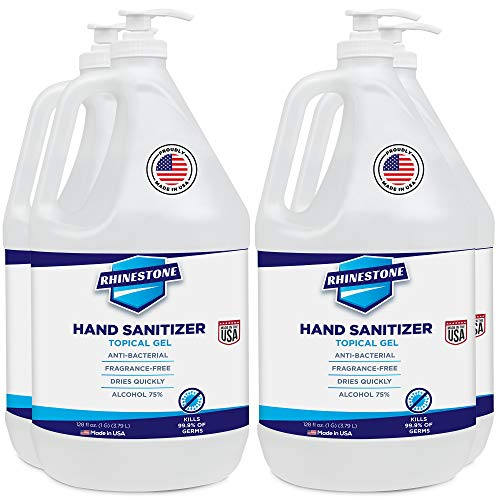 RHINESTONE Gel Hand Sanitizer Gallon Refill Large Bottle, Hospital Grade with 75% Ethyl Alcohol, Made in USA, 4 Pack of 1 Gallon Bottles + 4 Pumps