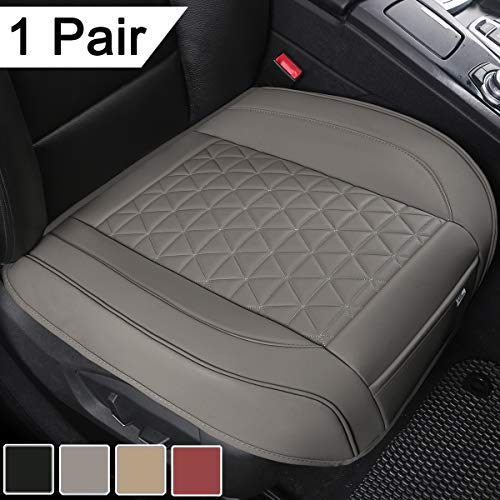 Black Panther 1 Pair Luxury PU Leather Car Seat Covers Protectors for Front Seat Bottoms, Compatible with 90% Vehicles (Sedan SUV Truck Minivan) - 21.26×20.86 Inches, Gray