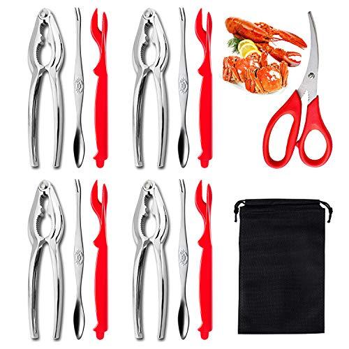 13 Pcs Nut Cracker Set, Includes 4 Crab Crackers, 4 Lobster Shellers, 4 Crab Leg Forks/Picks and 1 Seafood Scissors & Storage Bag - Seafood Tools Set