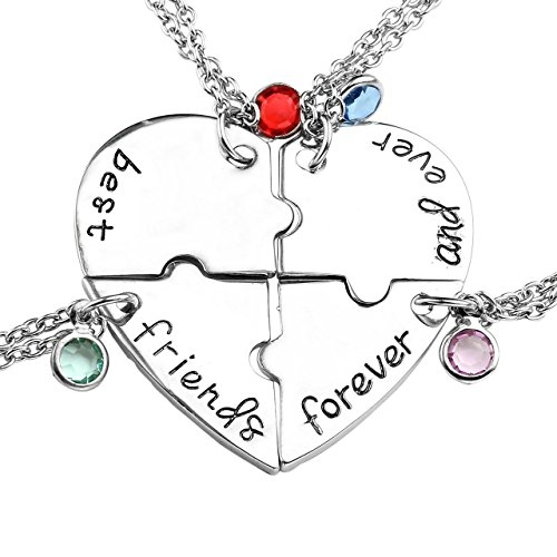 Top Plaza Silver Tone Alloy Rhinestone Best Friends Forever and Ever BFF Necklace Engraved Puzzle Friendship Pendant Necklaces Set(Set of 4)