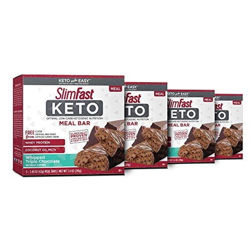 SlimFast Keto Meal Replacement Bar Triple Chocolate, Pack of 4