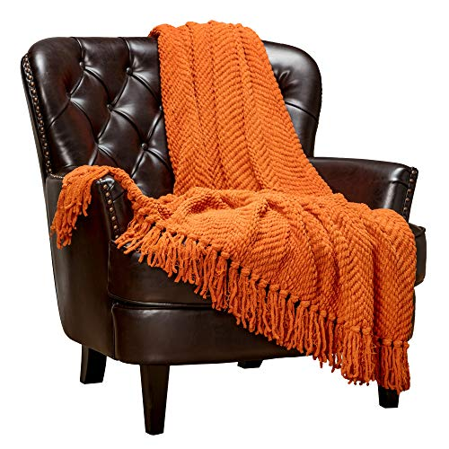 Chanasya Textured Knitted Super Soft Throw Blanket with Tassels - Warm Fluffy Cozy Plush Knit - for Fall Winter Couch Bed Sofa Living Room Framhouse Boho Accent Decor (50x65 Inches) Orange Blanket