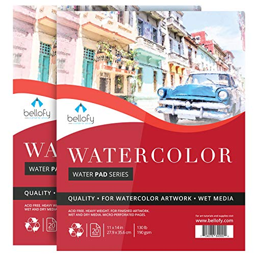 Bellofy 2 x Large Watercolor Paper Pad - 11x14 Inch with 20 Sheets/Pad   130 lb 190g Cold Press Paper for Wet Media   Acid Free Large Art Paper for Painting & Drawing   Art Supplies for Adults