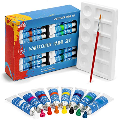 Watercolor Paint Set - 32 Water Color Paints for Adults, Artists & Kids - Extra Palette Tray & Paint Brush Included - Professional Watercolors, Perfect for Painting, Art Supplies Kit w/ 12 ml tubes